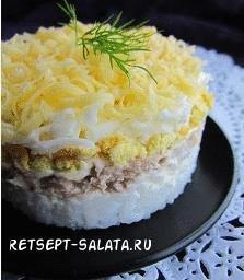 Салат с консервированной горбушей слоями