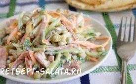 Простой салат с колбасой и огурцами, картинка