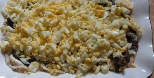 грибы, яйца, слой